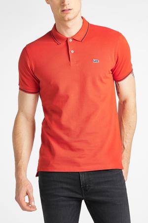 regular fit polo met logo rood/blauw