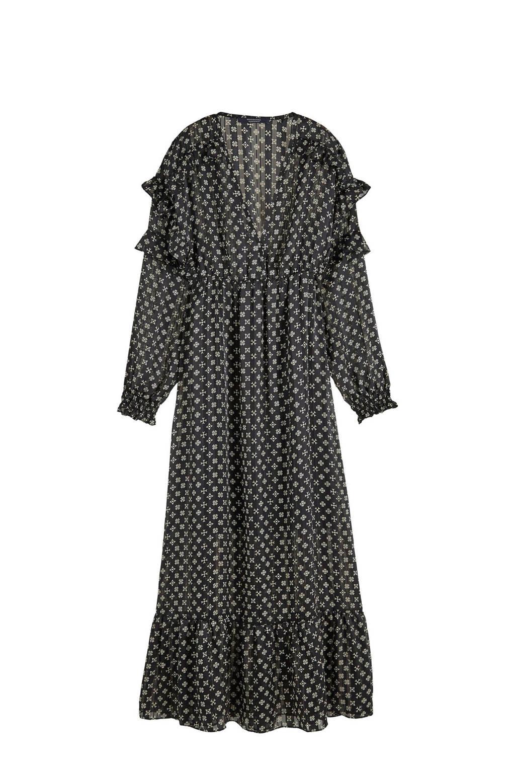 Scotch & Soda maxi jurk met all over print en volant zwart/wit, Zwart/wit