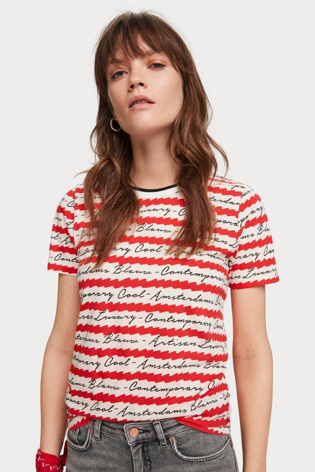 Scotch & Soda T-shirt met all over print rood/ wit