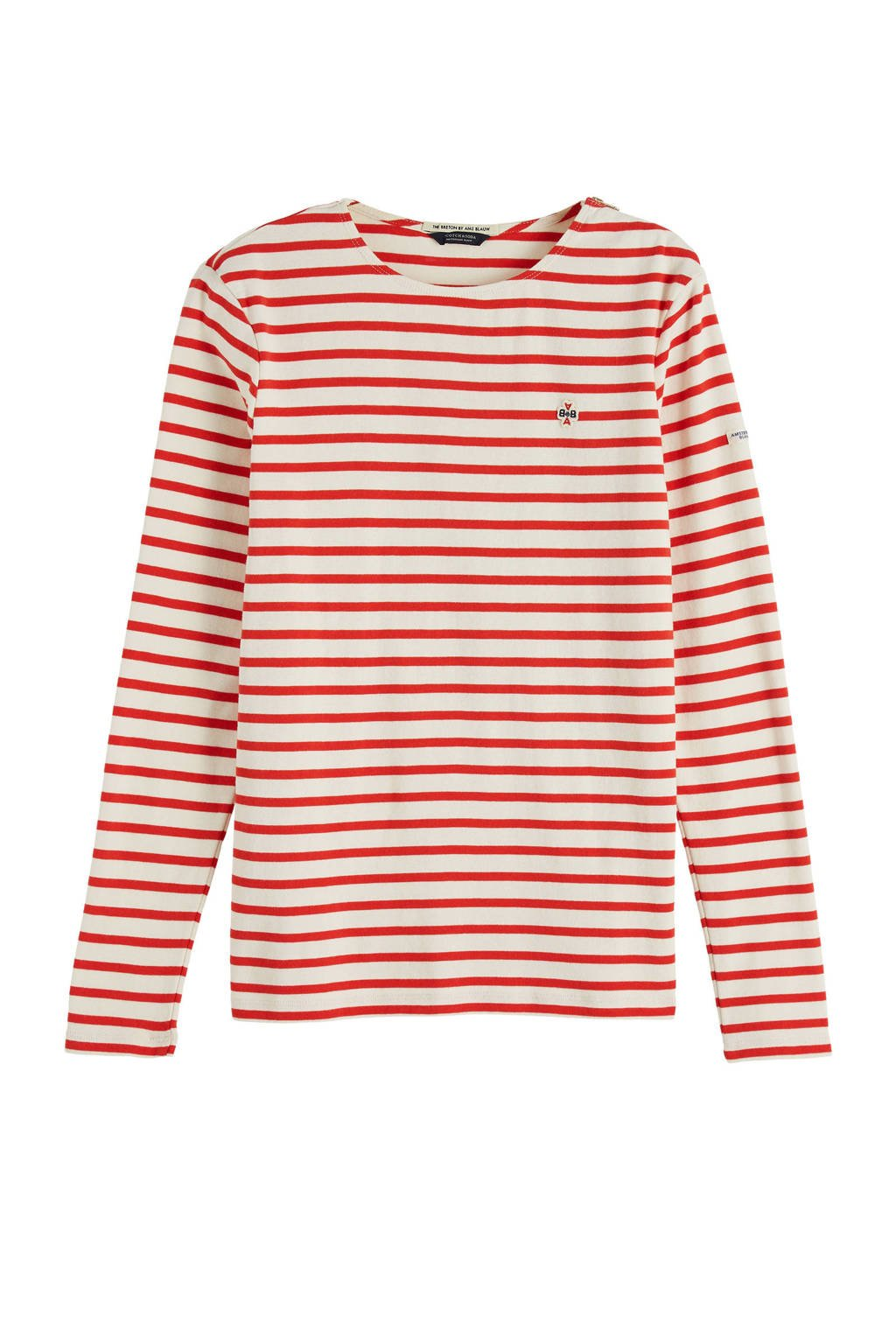 Scotch & Soda gestreepte top wit/rood, Wit/rood