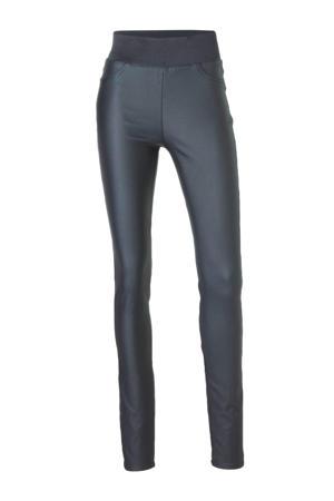 coated high waist skinny broek donkerblauw