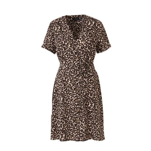 anytime gerecycled polyester jurk met panterprint zwart