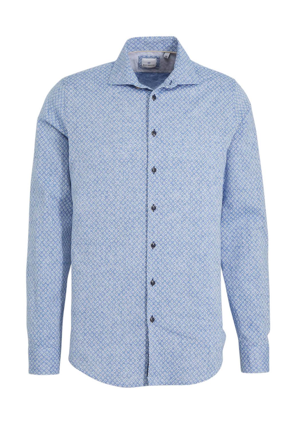 Blue Industry slim fit overhemd met linnen en all over print blauw, Blauw