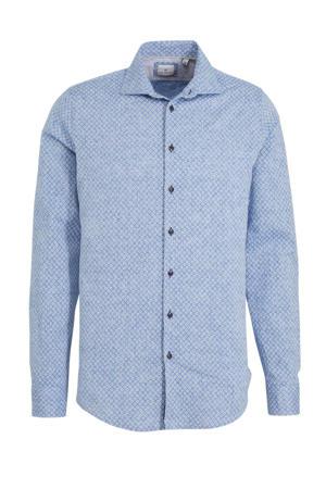 slim fit overhemd met linnen en all over print blauw
