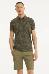 Blue Industry slim fit polo met contrastbies army, Army