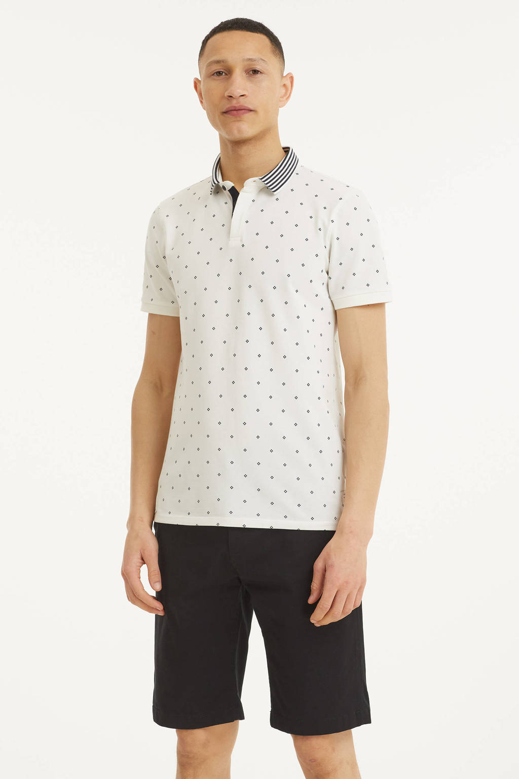 Blue Industry slim fit polo met all over print wit, Wit