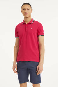 Blue Industry slim fit polo met contrastbies fuchsia, Fuchsia