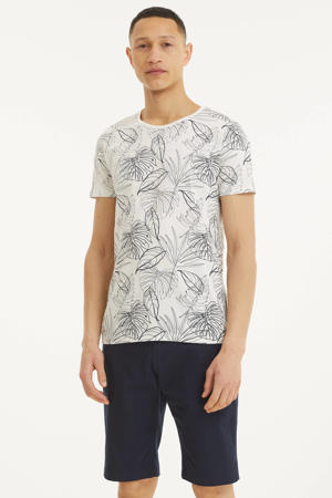 T-shirt met bladprint wit/donkerblauw