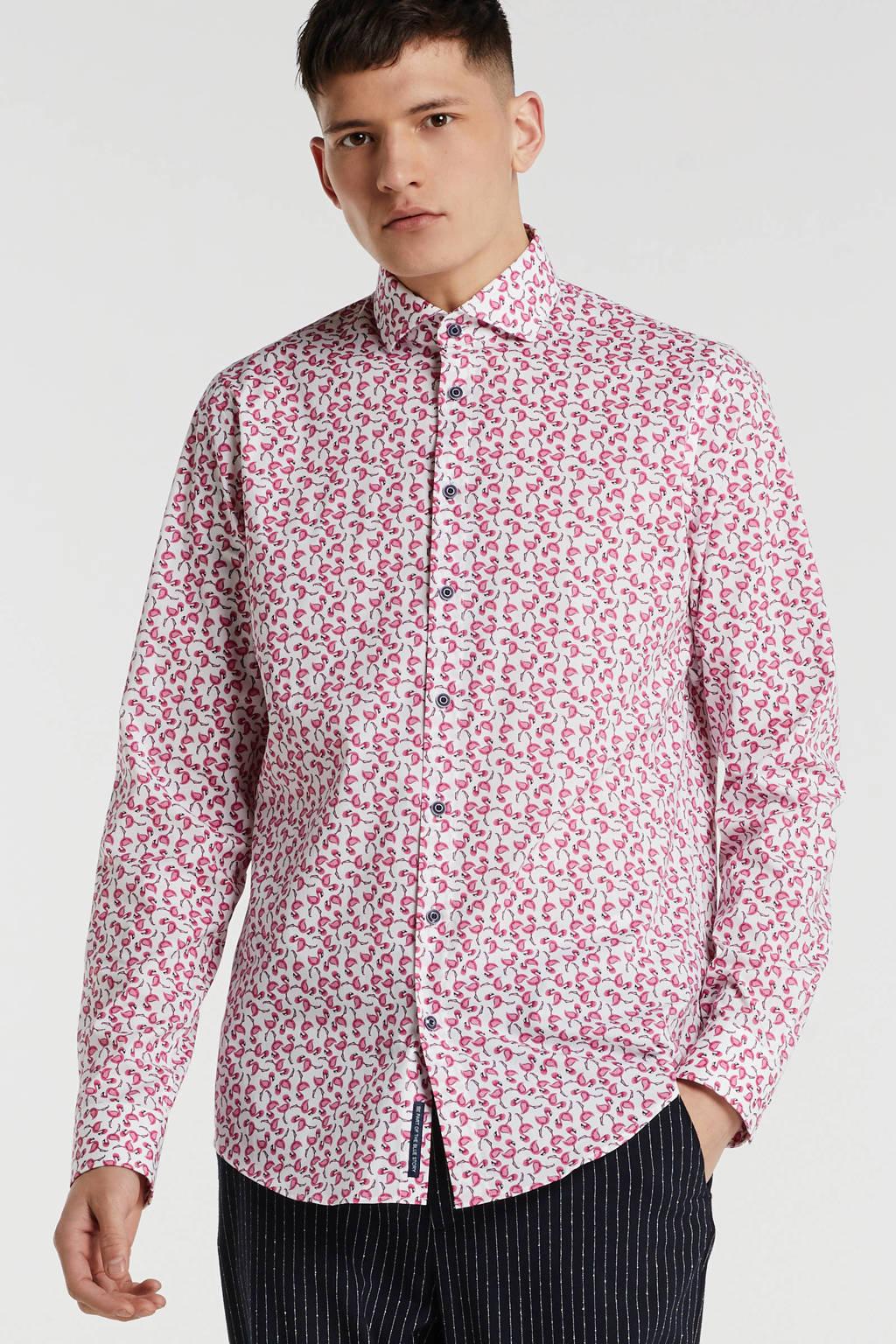 Blue Industry slim fit overhemd met dierenprint wit/roze, Wit/roze
