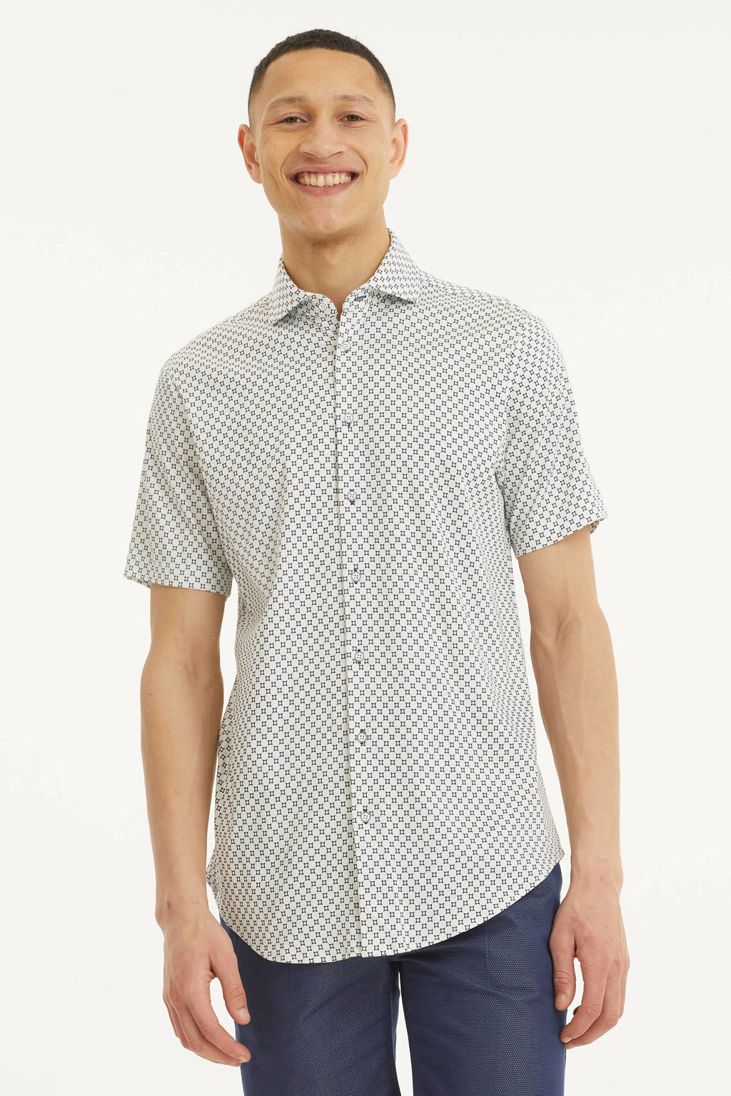 Blue Industry slim fit overhemd met all over print wit/zwart, Wit/zwart