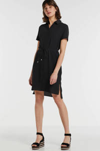 anytime gerecycled polyester blousejurk zwart, Zwart