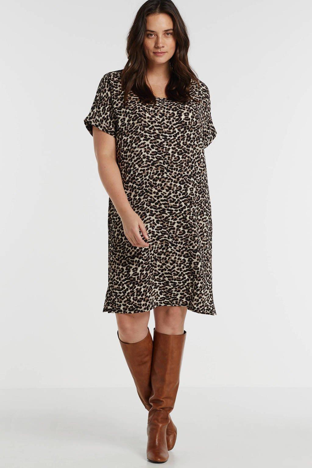 anytime gerecycled polyester jurk Plus size met panterprint taupe/ecru, Taupe/zwart/ecru