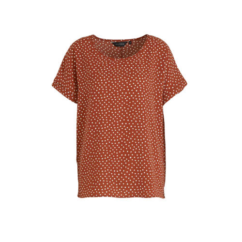 anytime gerecycled polyester top met stippenprint
