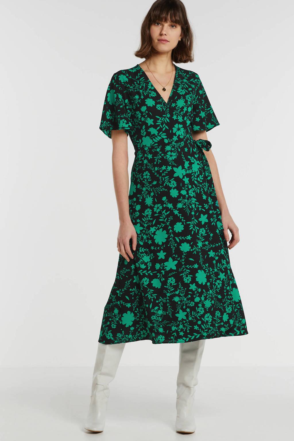 anytime gerecycled polyester wikkeljurk met bloemenprint, Zwart/groen