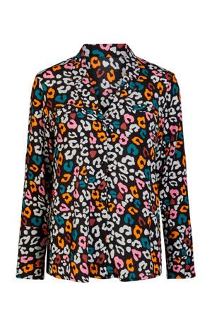 blouse met panterprint zwart/multi