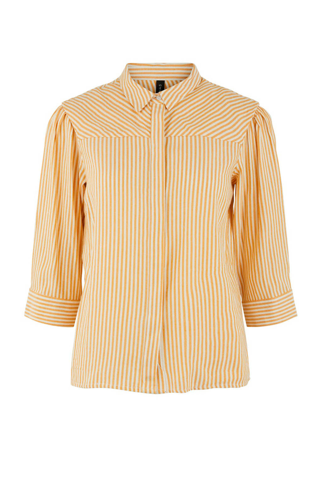 Y.A.S blouse gestreept, Geel/wit