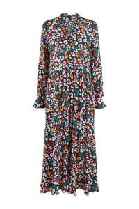 Y.A.S maxi jurk met panterprint en ruches zwart, Zwart