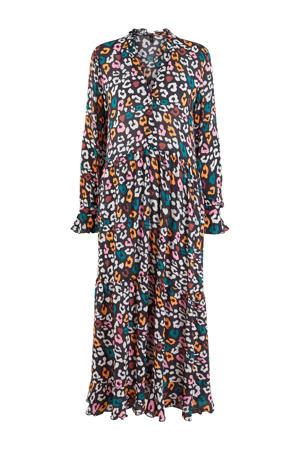 maxi jurk met panterprint en ruches zwart