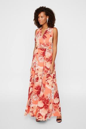 gebloemde maxi jurk roze