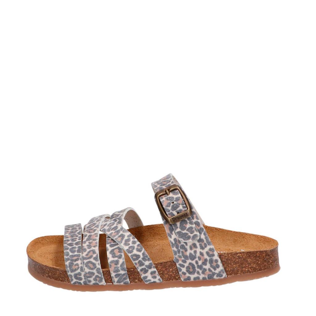 Braqeez Sendra Spain  slippers panterprint, Beige/bruin