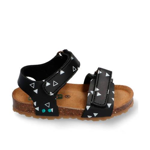 Bunnies Bas Beach leren sandalen zwart/wit