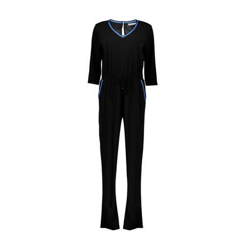 Geisha jumpsuit met zijstreep zwart/blauw