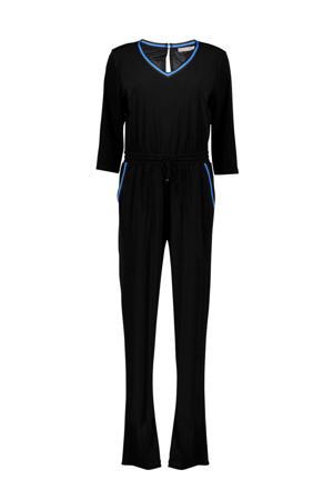 jumpsuit met zijstreep zwart/blauw