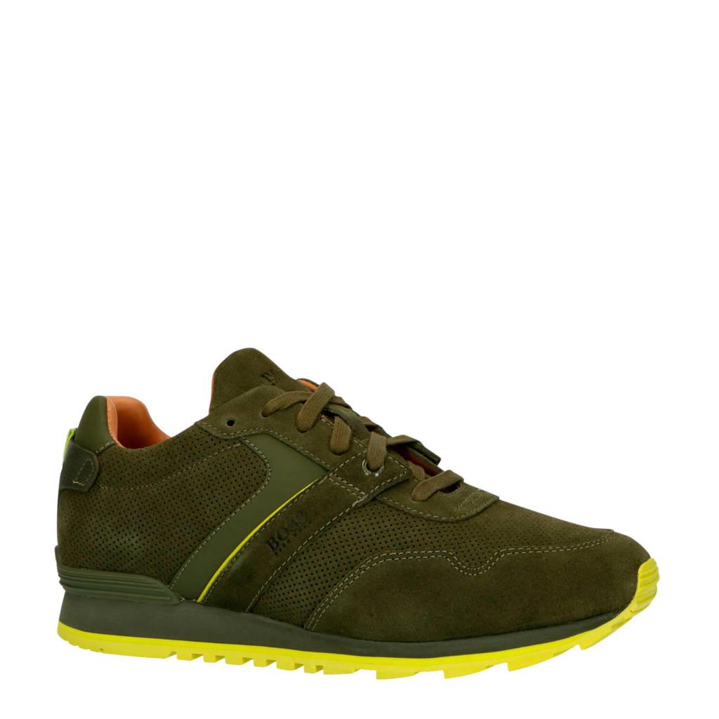 BOSS Parkour_Runn_sdpf  suède sneakers donkergroen, Donkergroen/limegroen
