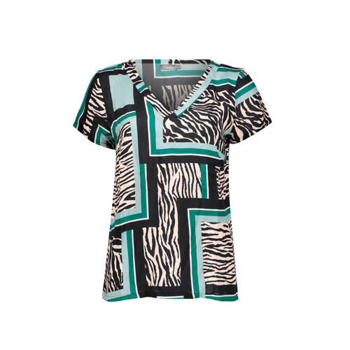 Geisha top met all over print zwart/multi