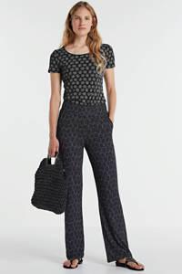 Geisha high waist loose fit broek Britt met sierstenen zwart, Zwart