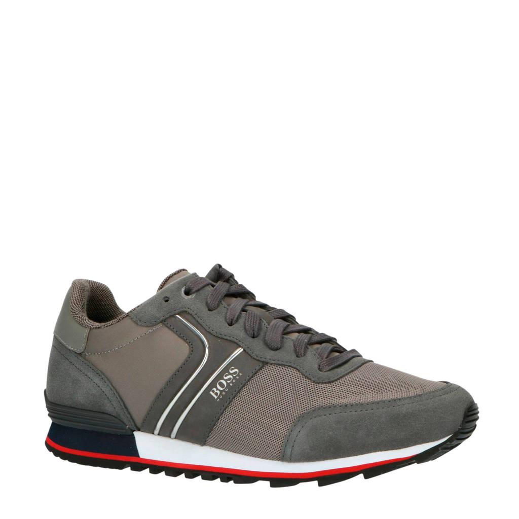 BOSS Parkour_Runn_nymx2  suède sneakers grijs, Grijs/zilver