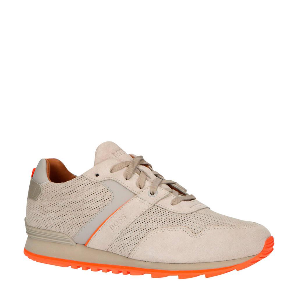 BOSS Parkour_Runn_sdpf  suède sneakers beige, Beige/Neon oranje