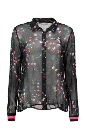 gebloemde blouse zwart