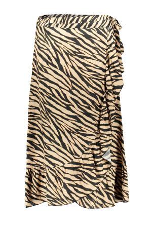 rok met zebraprint zand/zwart