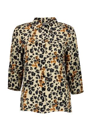 blouse met panterprint beige/zwart