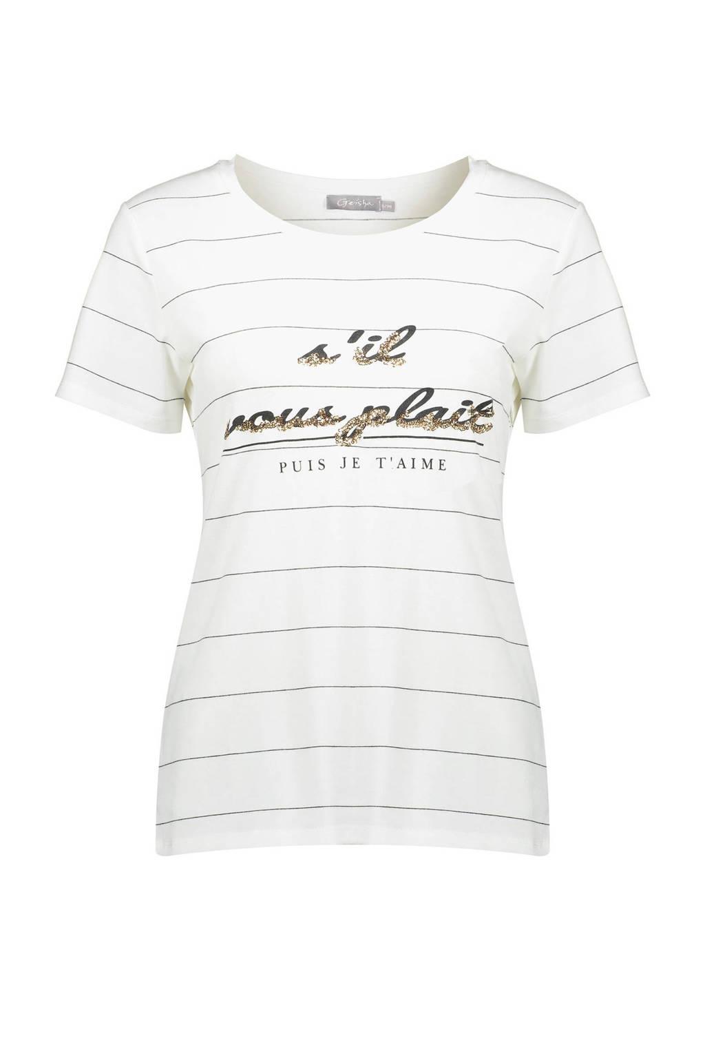 Geisha T-shirt met tekst wit, Wit