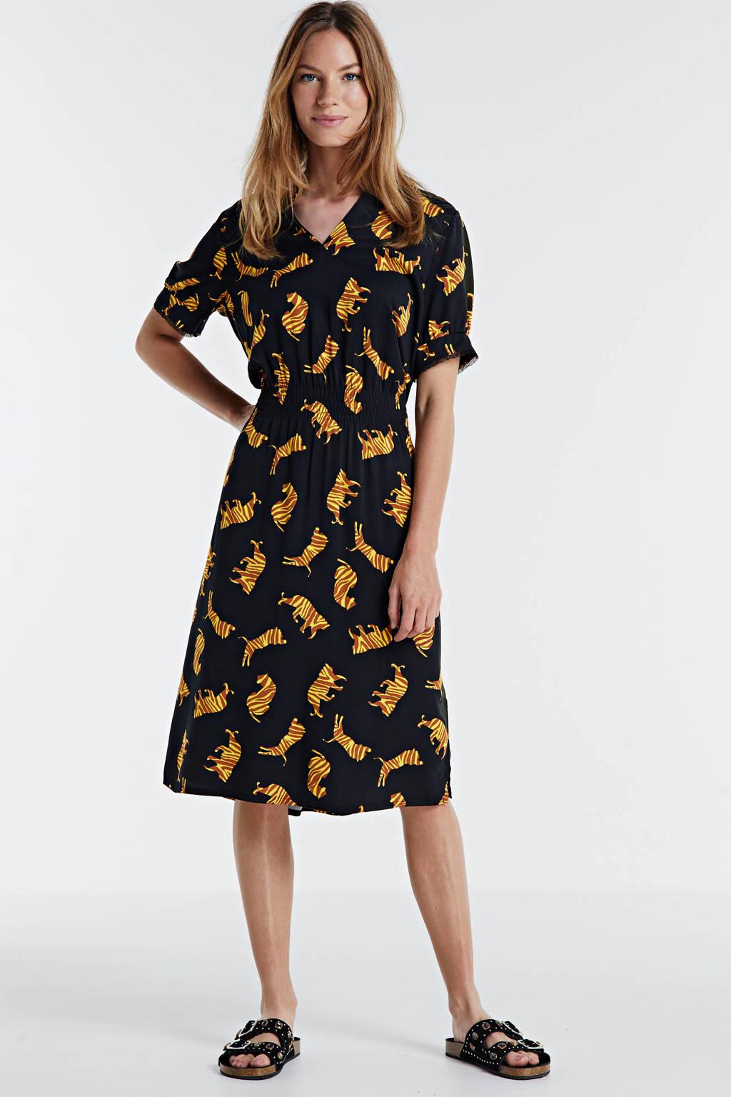 Geisha jurk met all over print zwart/geel, Zwart/geel