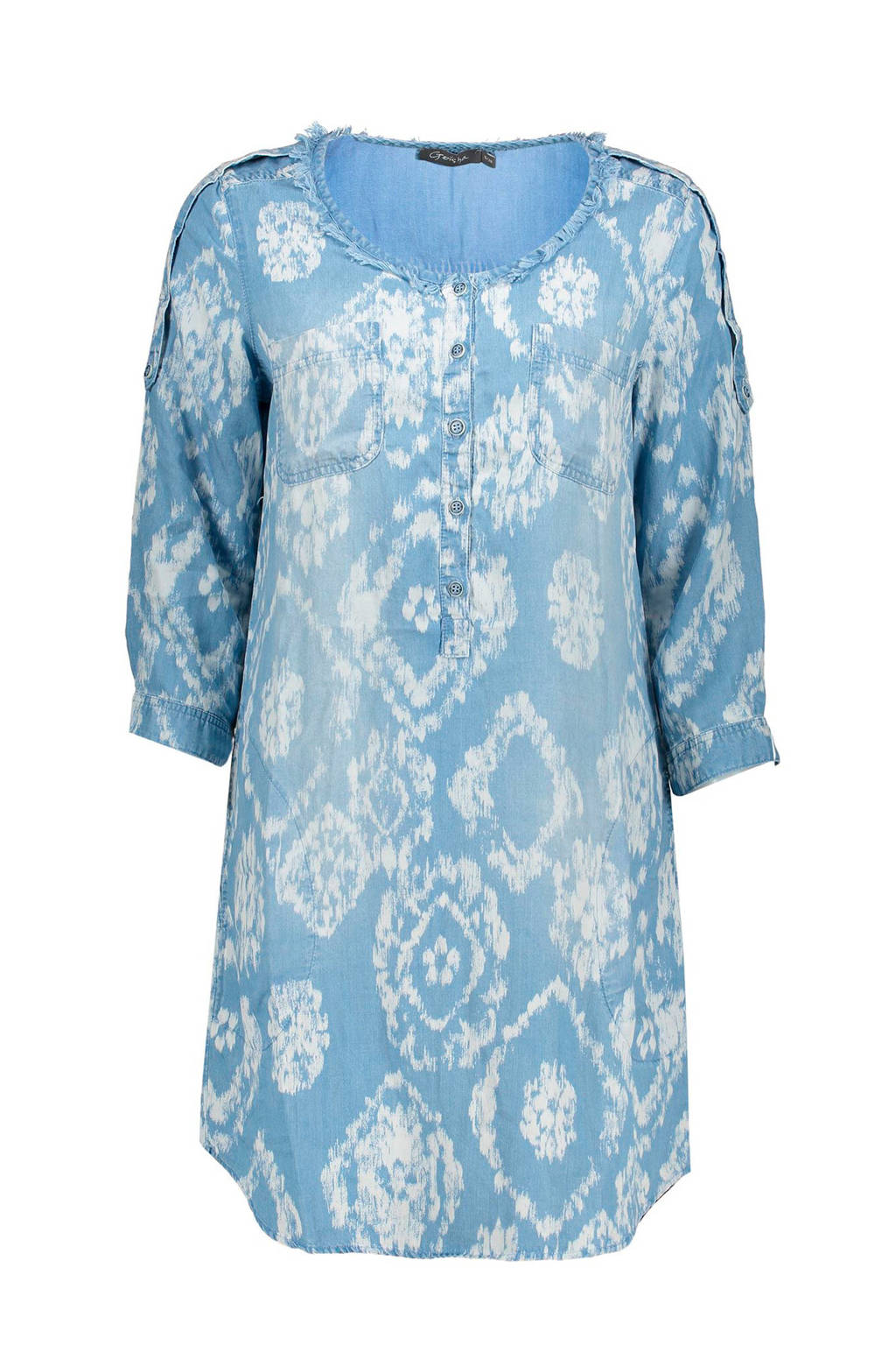 Geisha geweven tuniek met all over print lichtblauw, Lichtblauw