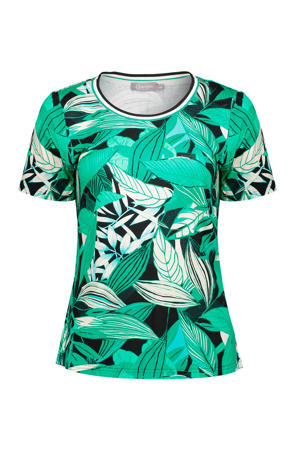 T-shirt met bladprint groen
