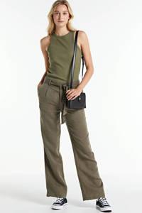 Geisha high waist loose fit broek army groen, Army groen