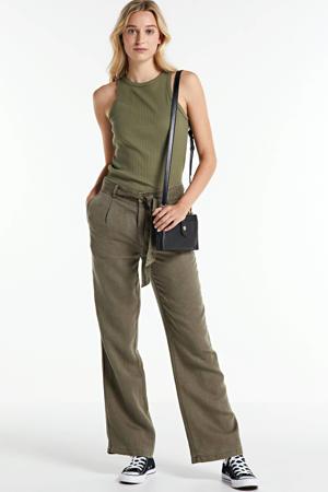 high waist loose fit broek army groen