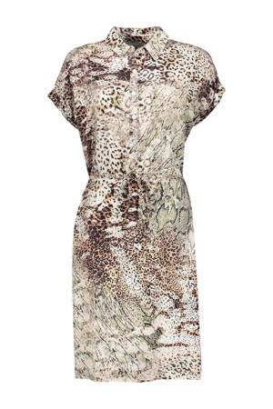 jurk met all over print en ceintuur zand/multi