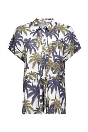 blouse met bladprint en ceintuur wit/groen