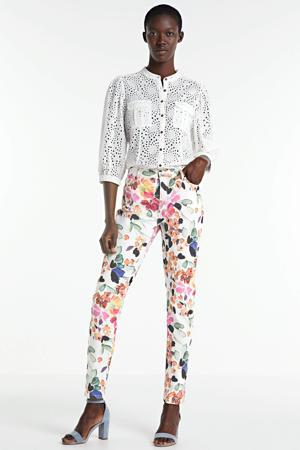 skinny broek met bladprint wit/multi