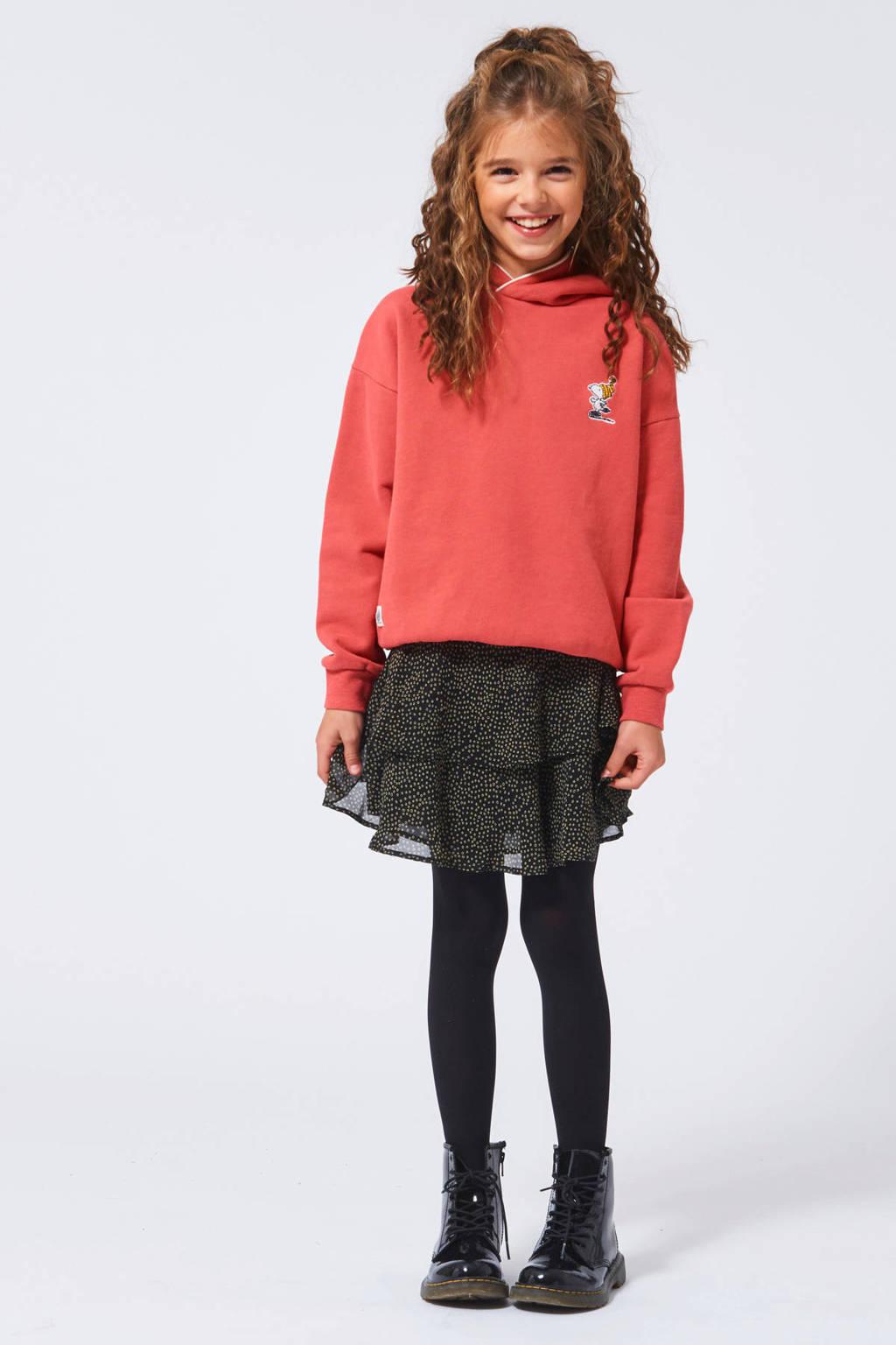 America Today Junior rok Rosie met all over print en ruches zwart/goud, Zwart/goud