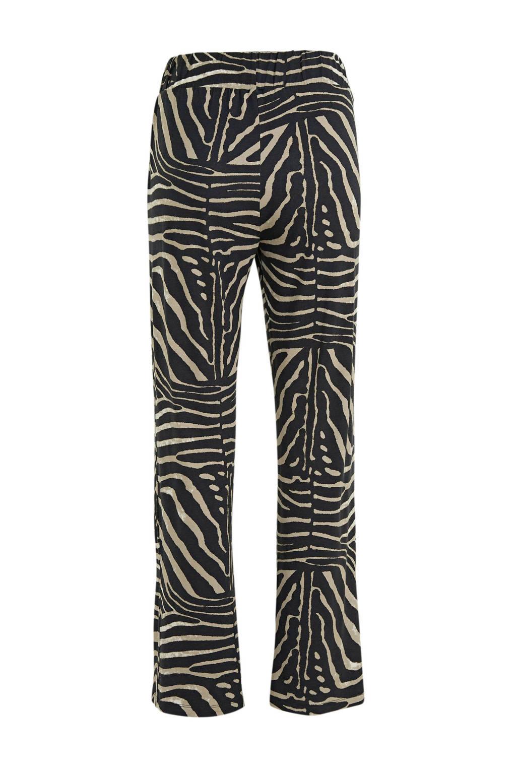 Geisha high waist loose fit broek Britt met sierstenen beige/zwart, Beige/zwart