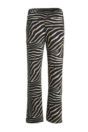 high waist loose fit broek Britt met sierstenen beige/zwart