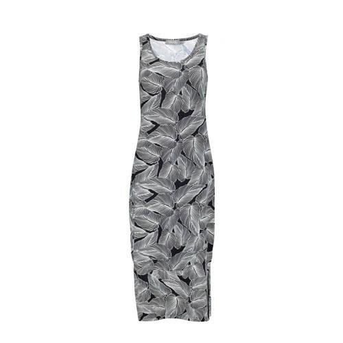 Geisha jersey maxi jurk River met bladprint zwart/