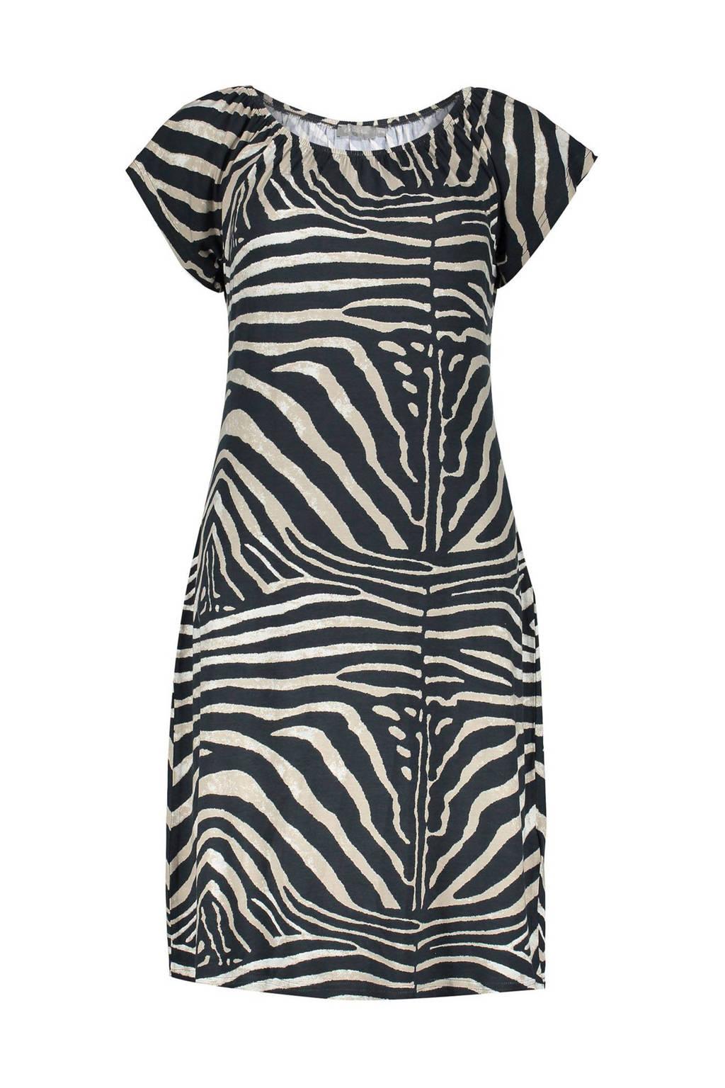 Geisha jersey jurk met zebraprint zwart/beige, Zwart/beige