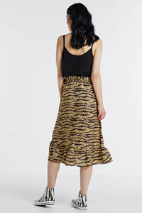 Geisha rok met zebraprint en ruches geel/zwart/roze, Geel/zwart/roze
